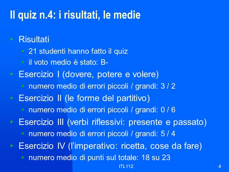 ITL1124 Il quiz n.4: i risultati, le medie Risultati 21 studenti hanno fatto il quiz il voto medio è stato: B- Esercizio I (dovere, potere e volere) n