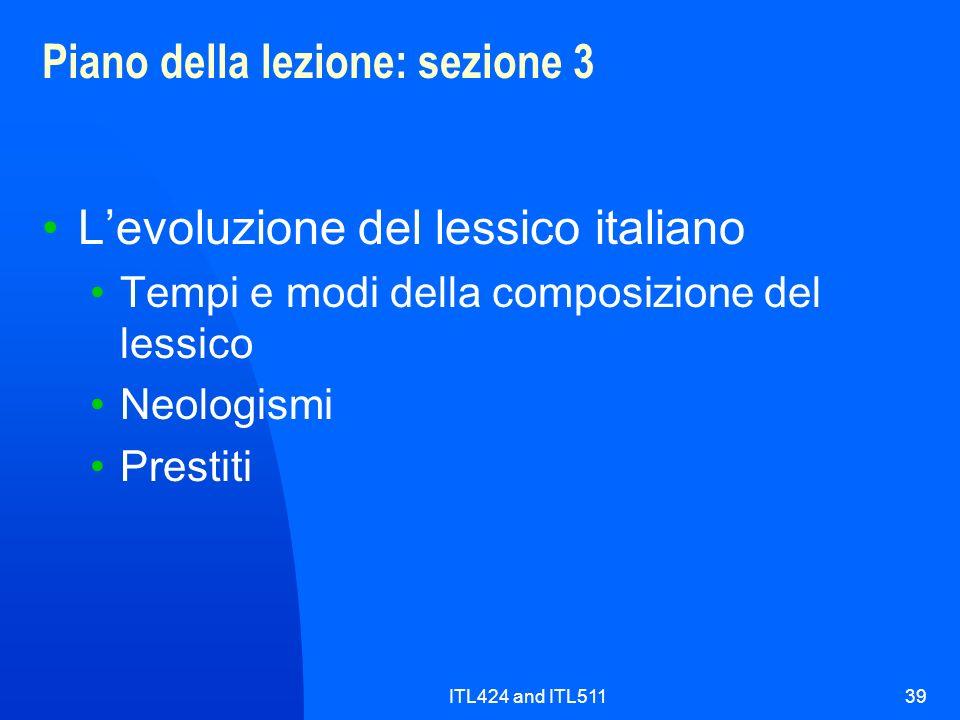 ITL424 and ITL51139 Piano della lezione: sezione 3 Levoluzione del lessico italiano Tempi e modi della composizione del lessico Neologismi Prestiti