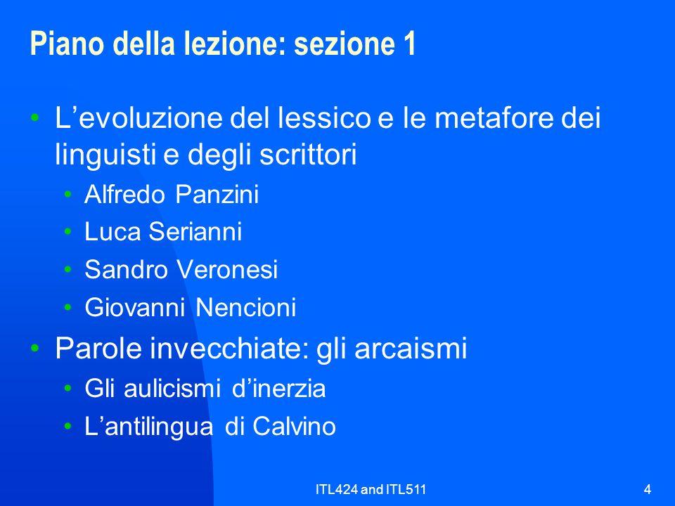 ITL424 and ITL5114 Piano della lezione: sezione 1 Levoluzione del lessico e le metafore dei linguisti e degli scrittori Alfredo Panzini Luca Serianni