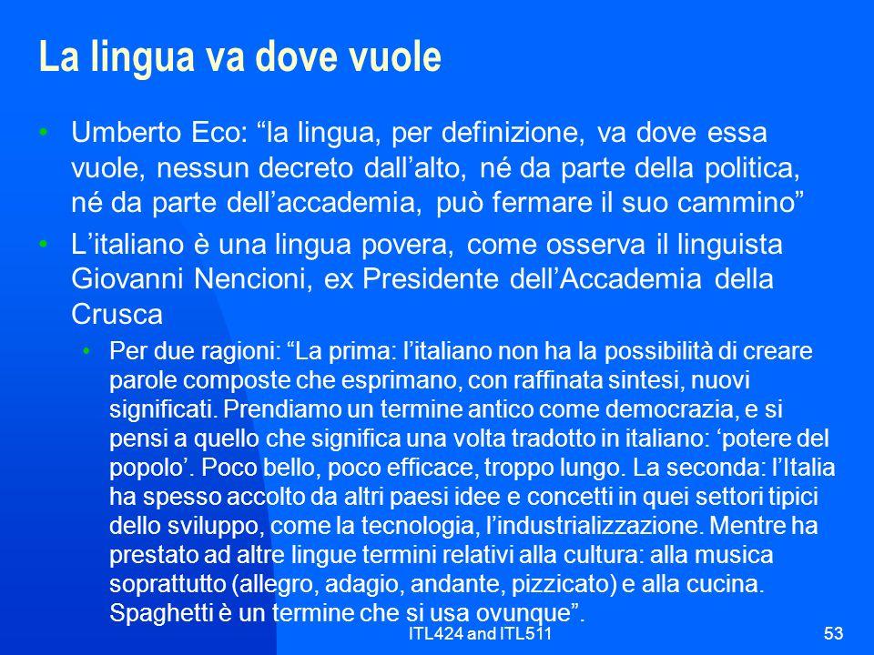 ITL424 and ITL51153 La lingua va dove vuole Umberto Eco: la lingua, per definizione, va dove essa vuole, nessun decreto dallalto, né da parte della po