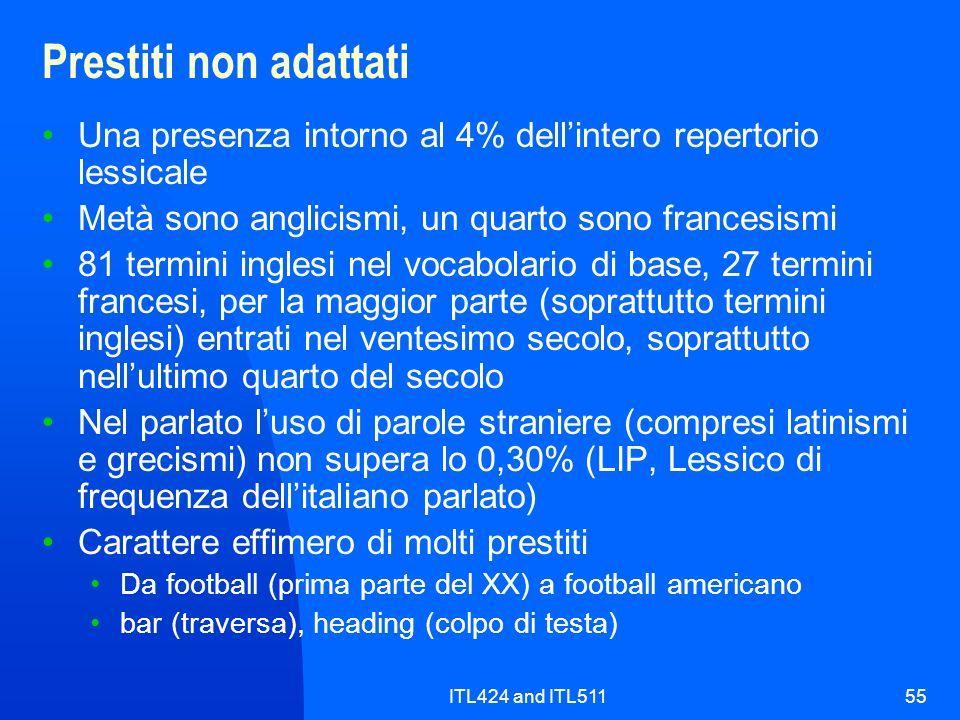 ITL424 and ITL51155 Prestiti non adattati Una presenza intorno al 4% dellintero repertorio lessicale Metà sono anglicismi, un quarto sono francesismi
