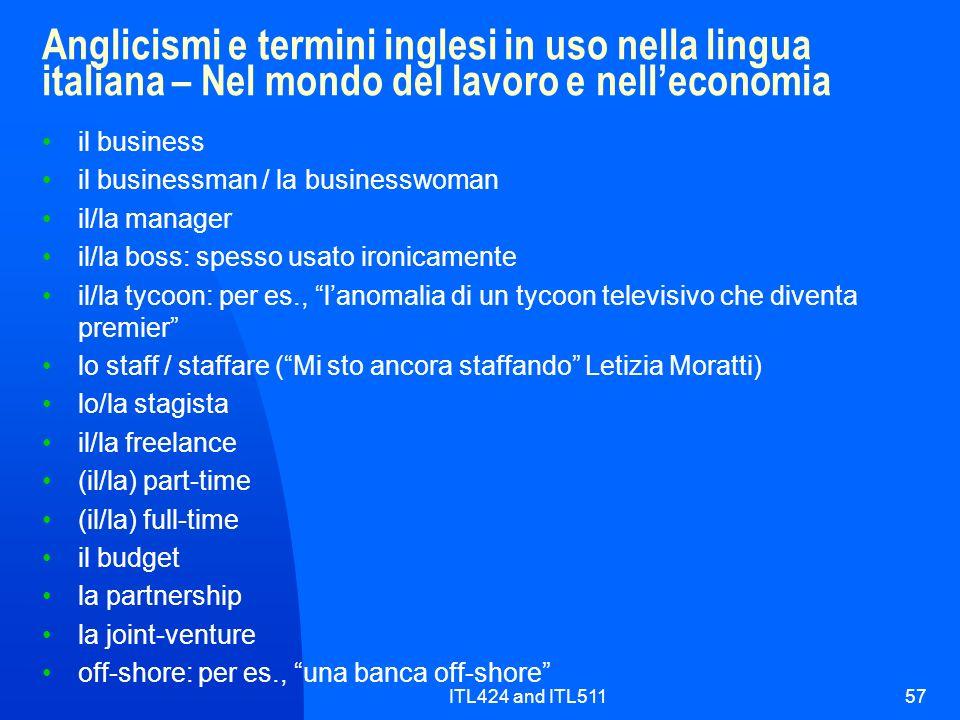 ITL424 and ITL51157 Anglicismi e termini inglesi in uso nella lingua italiana – Nel mondo del lavoro e nelleconomia il business il businessman / la bu