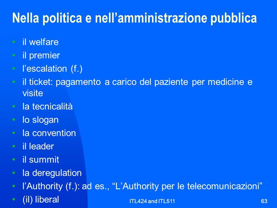 ITL424 and ITL51163 Nella politica e nellamministrazione pubblica il welfare il premier lescalation (f.) il ticket: pagamento a carico del paziente pe