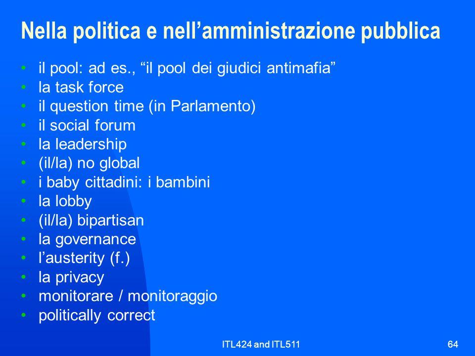 ITL424 and ITL51164 Nella politica e nellamministrazione pubblica il pool: ad es., il pool dei giudici antimafia la task force il question time (in Pa