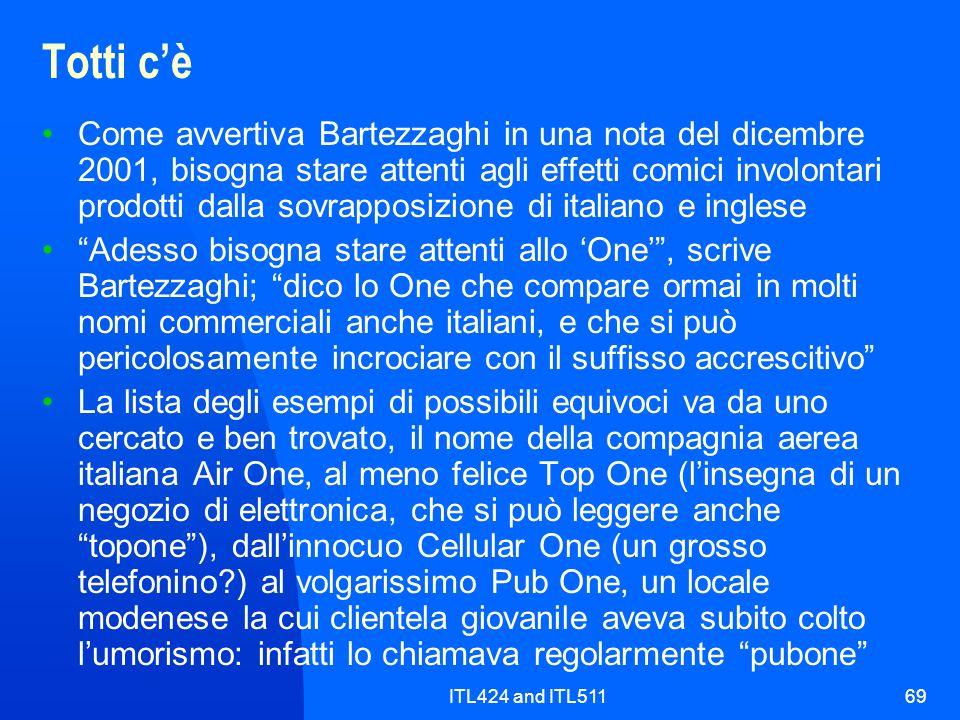ITL424 and ITL51169 Totti cè Come avvertiva Bartezzaghi in una nota del dicembre 2001, bisogna stare attenti agli effetti comici involontari prodotti