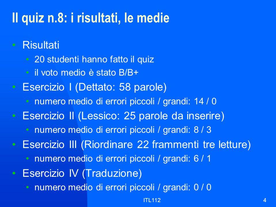 ITL1124 Il quiz n.8: i risultati, le medie Risultati 20 studenti hanno fatto il quiz il voto medio è stato B/B+ Esercizio I (Dettato: 58 parole) numer