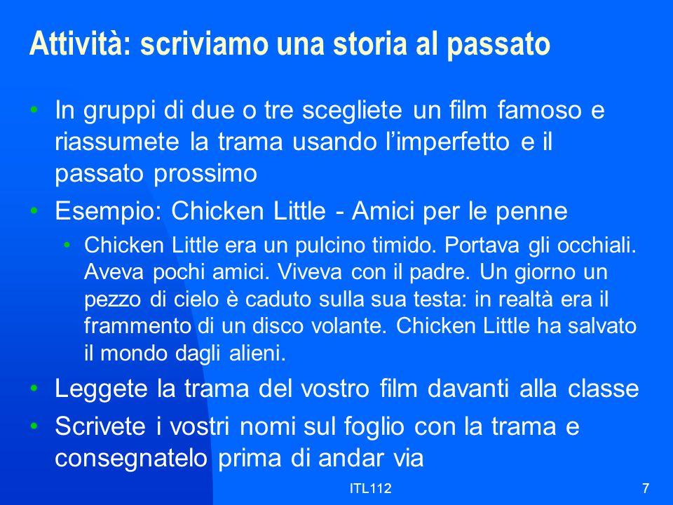 ITL1128 Grammatica: pronomi diretti, indiretti, tonici Pronomi direttiPronomi indirettiPronomi tonici mi (me)mi (to me)me (me) ti (you)ti (to you)te (you) lo / la (him, her, it) gli / le (to him, to her, to it) lui / lei / esso, essa (him, her, it) ci (us)ci (to us)noi (us) vi (you, plural)vi (to you, plural)voi (you, plural) li / le (them) loro, (a) loro, gli (to them) loro, essi, esse (them)