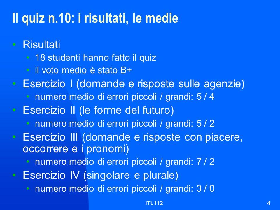 ITL1124 Il quiz n.10: i risultati, le medie Risultati 18 studenti hanno fatto il quiz il voto medio è stato B+ Esercizio I (domande e risposte sulle a