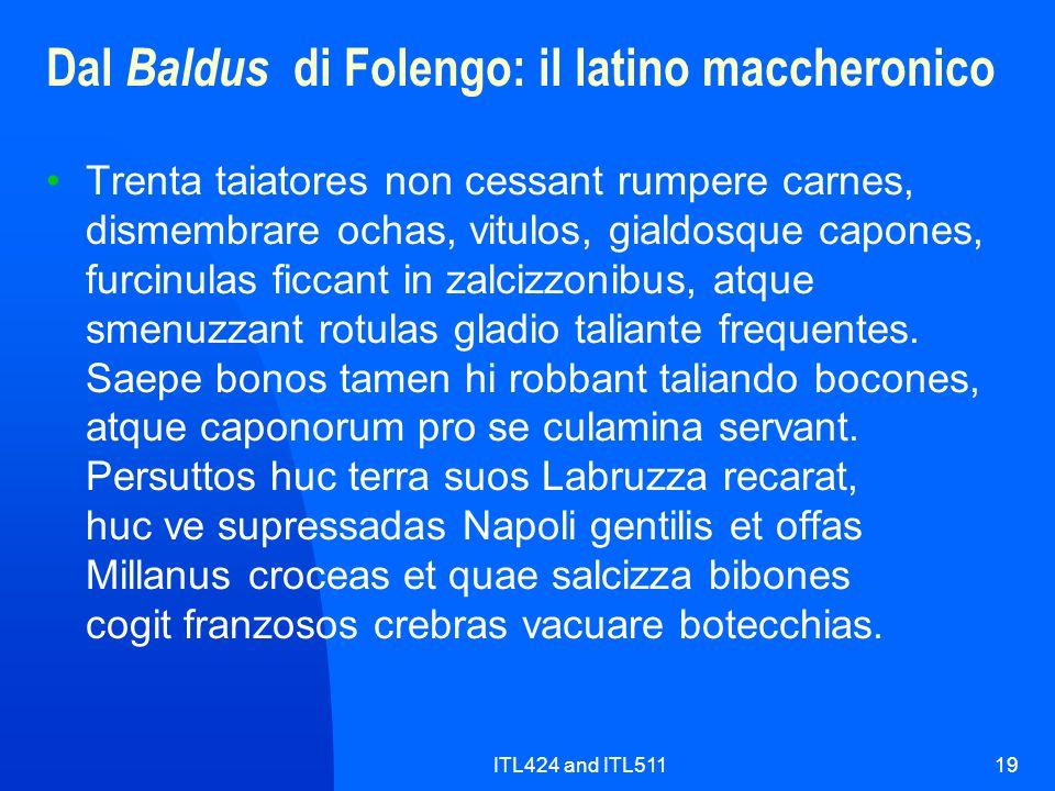 ITL424 and ITL51119 Dal Baldus di Folengo: il latino maccheronico Trenta taiatores non cessant rumpere carnes, dismembrare ochas, vitulos, gialdosque