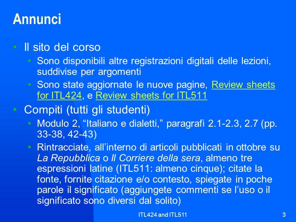 ITL424 and ITL5113 Annunci Il sito del corso Sono disponibili altre registrazioni digitali delle lezioni, suddivise per argomenti Sono state aggiornat