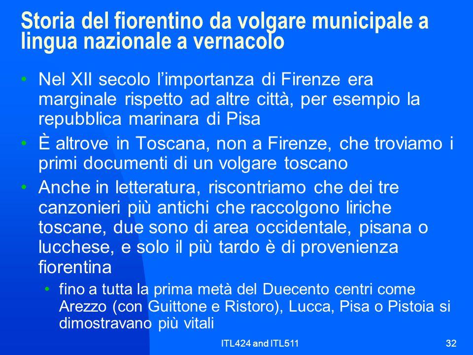 ITL424 and ITL51132 Storia del fiorentino da volgare municipale a lingua nazionale a vernacolo Nel XII secolo limportanza di Firenze era marginale ris