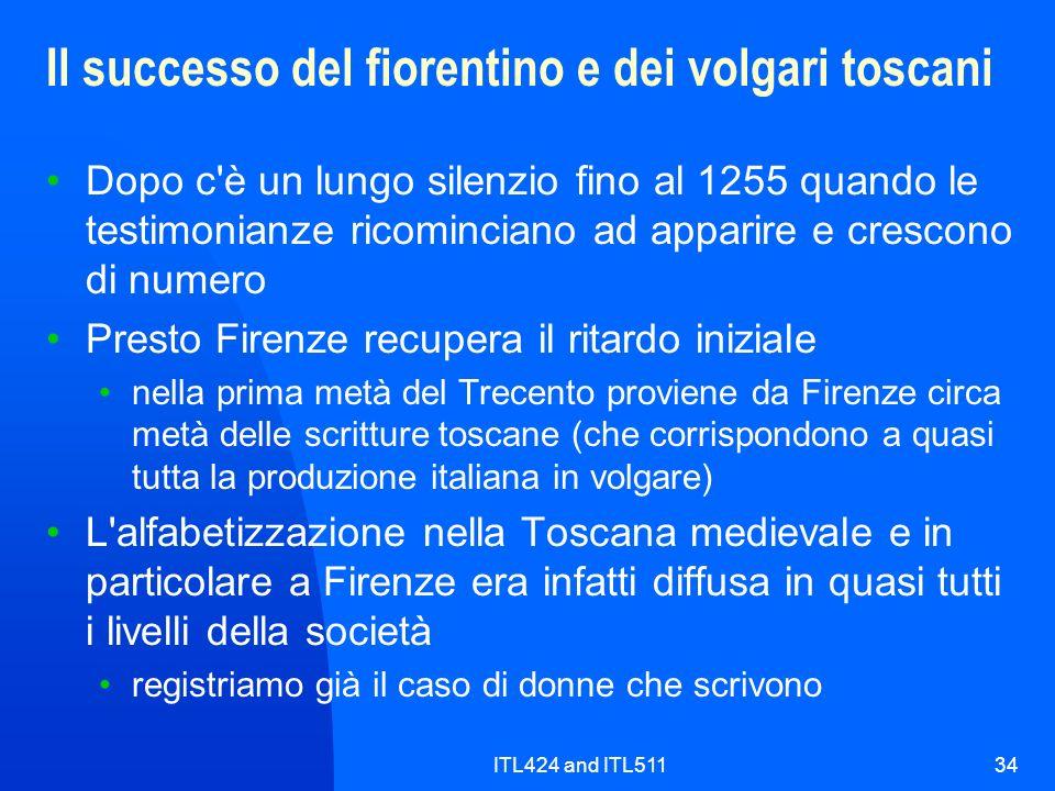 ITL424 and ITL51134 Il successo del fiorentino e dei volgari toscani Dopo c'è un lungo silenzio fino al 1255 quando le testimonianze ricominciano ad a