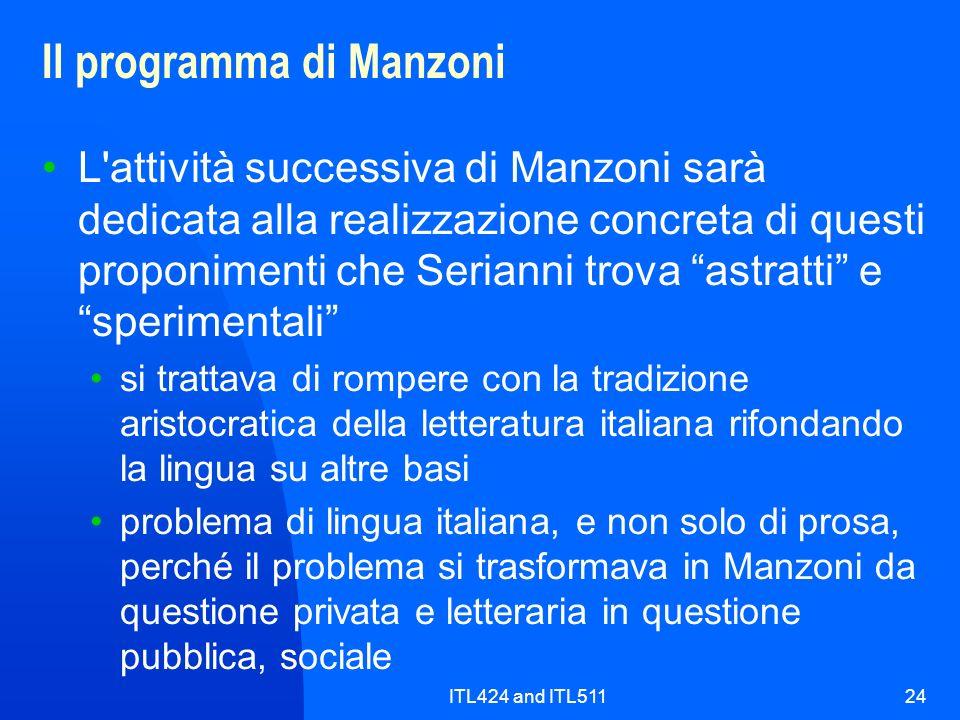 ITL424 and ITL51124 Il programma di Manzoni L'attività successiva di Manzoni sarà dedicata alla realizzazione concreta di questi proponimenti che Seri