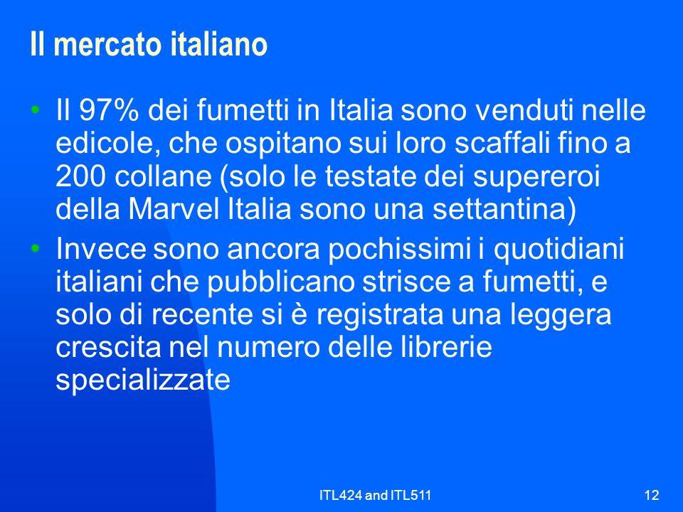 ITL424 and ITL51112 Il mercato italiano Il 97% dei fumetti in Italia sono venduti nelle edicole, che ospitano sui loro scaffali fino a 200 collane (so