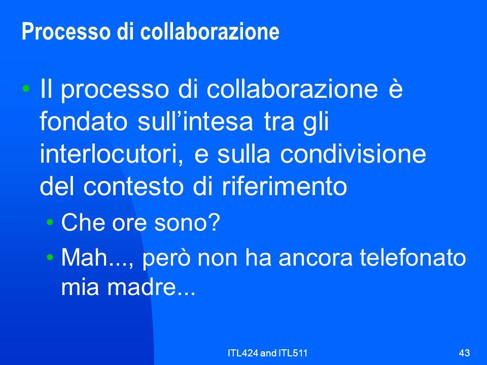 ITL424 and ITL51143 Processo di collaborazione Il processo di collaborazione è fondato sullintesa tra gli interlocutori, e sulla condivisione del cont