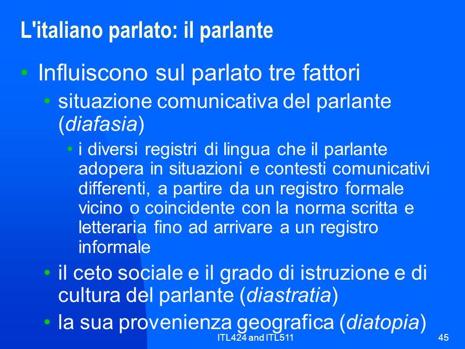 ITL424 and ITL51145 L'italiano parlato: il parlante Influiscono sul parlato tre fattori situazione comunicativa del parlante (diafasia) i diversi regi