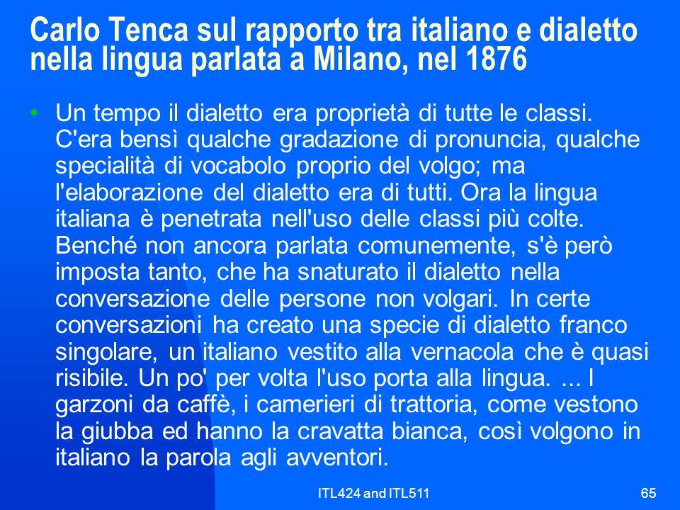 ITL424 and ITL51165 Carlo Tenca sul rapporto tra italiano e dialetto nella lingua parlata a Milano, nel 1876 Un tempo il dialetto era proprietà di tut