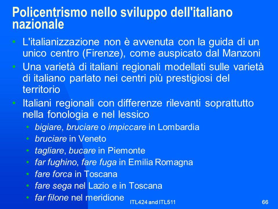 ITL424 and ITL51166 Policentrismo nello sviluppo dell'italiano nazionale L'italianizzazione non è avvenuta con la guida di un unico centro (Firenze),
