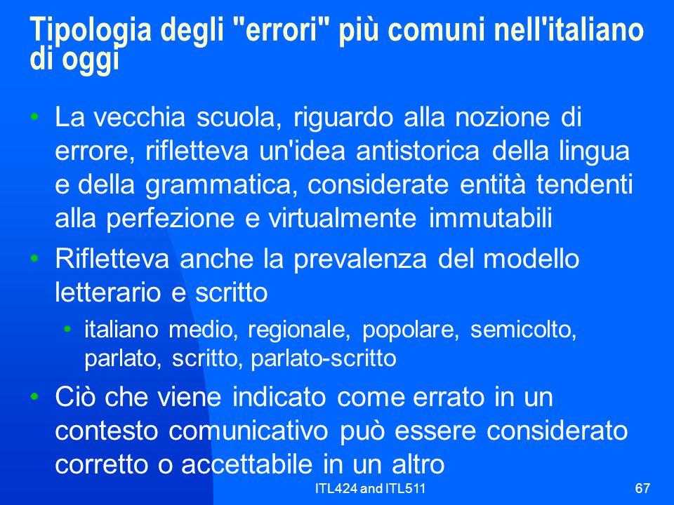 ITL424 and ITL51167 Tipologia degli