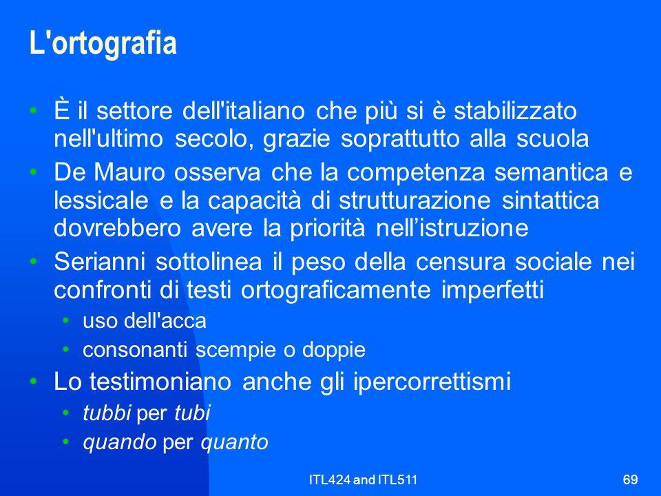 ITL424 and ITL51169 L'ortografia È il settore dell'italiano che più si è stabilizzato nell'ultimo secolo, grazie soprattutto alla scuola De Mauro osse