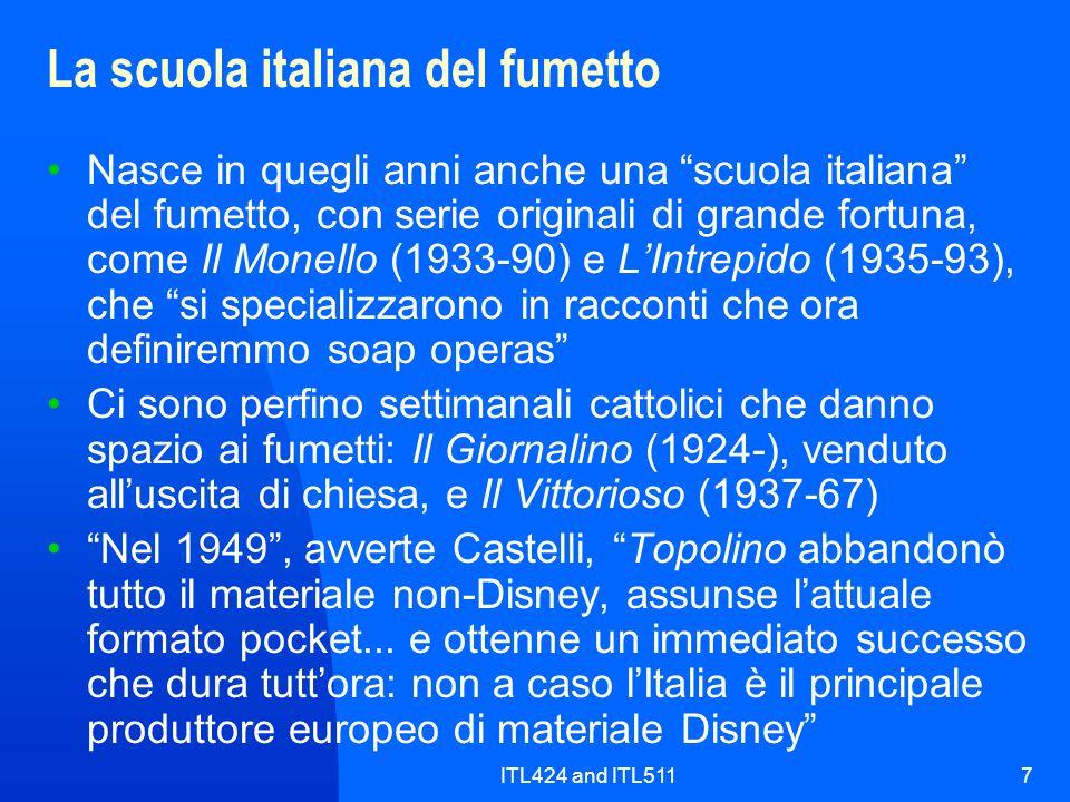 ITL424 and ITL51118 Le onomatopee dei fumetti italiani rappresentazione iconica dei rumori fonosimboli e parole frequenti nelloriginale inglese, difficili da eliminare nelle strisce tradotte perché collocati nel disegno, al di fuori delle nuvolette le parole inglesi vennero avvertite in italiano come semplici onomatopee bang, boom, crash, gulp, mumble, smack, sniff sul modello dellinglese si creano equivalenti italiani scroosh, ronf, uao, spalank