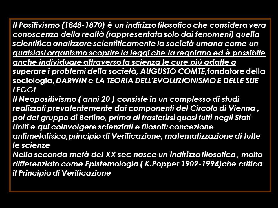 Il Positivismo (1848-1870) è un indirizzo filosofico che considera vera conoscenza della realtà (rappresentata solo dai fenomeni) quella scientifica a
