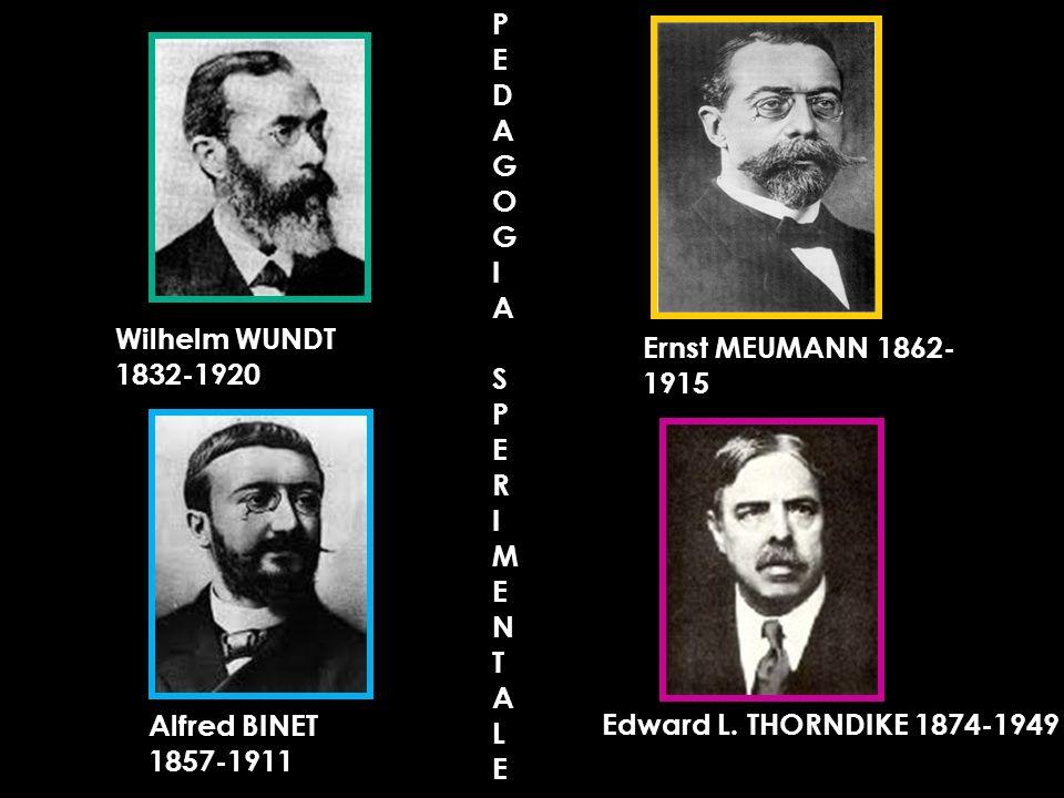 Ernst MEUMANN 1862- 1915 Alfred BINET 1857-1911 Wilhelm WUNDT 1832-1920 Edward L. THORNDIKE 1874-1949PEDAGOGIASPERIMENTALE