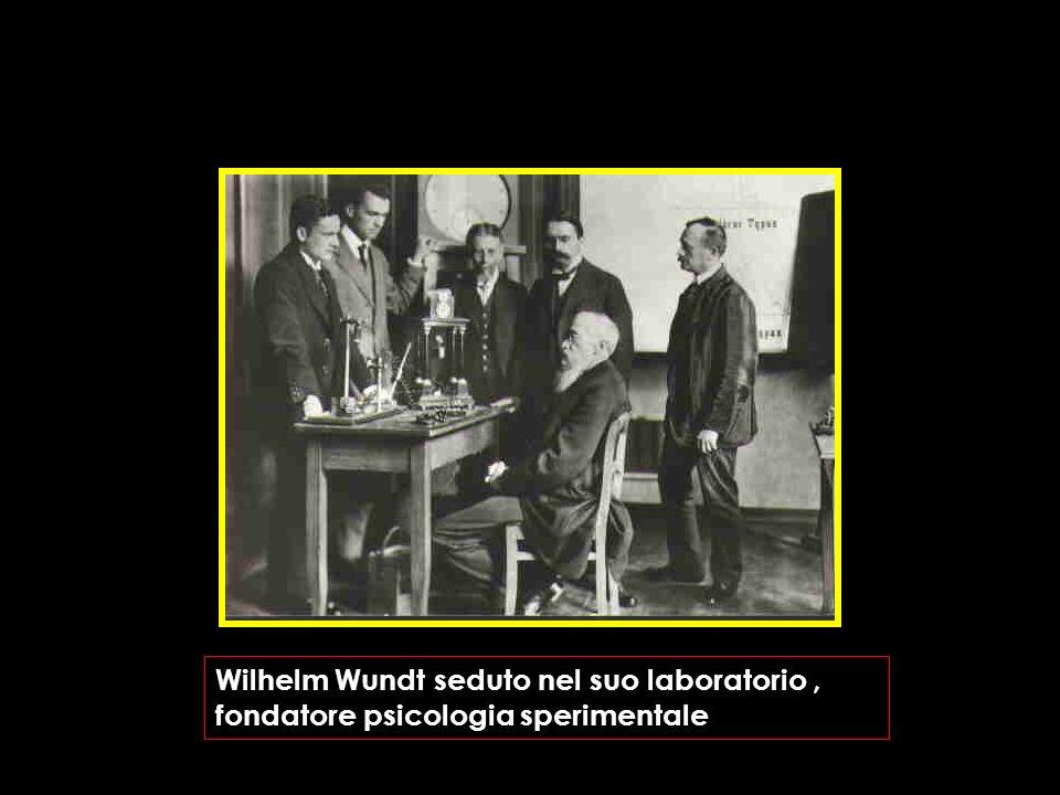 Wilhelm Wundt seduto nel suo laboratorio, fondatore psicologia sperimentale