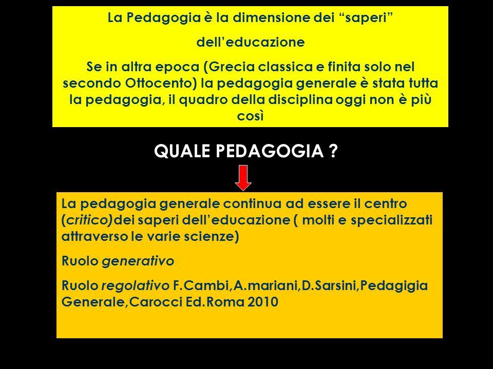 La Pedagogia è la dimensione dei saperi delleducazione Se in altra epoca (Grecia classica e finita solo nel secondo Ottocento) la pedagogia generale è