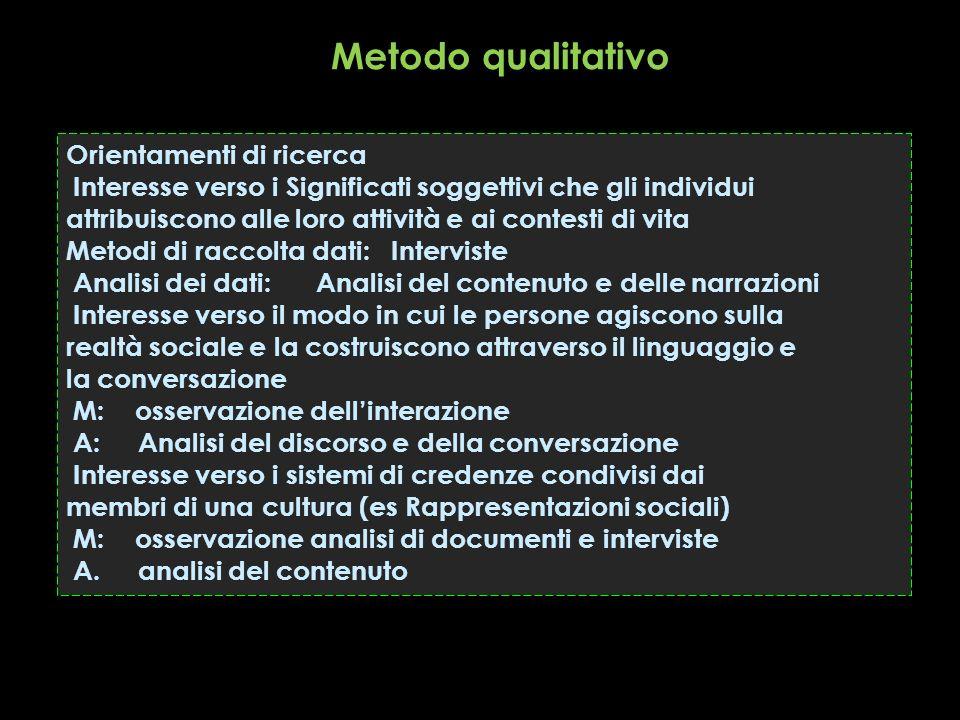 Orientamenti di ricerca Interesse verso i Significati soggettivi che gli individui attribuiscono alle loro attività e ai contesti di vita Metodi di ra