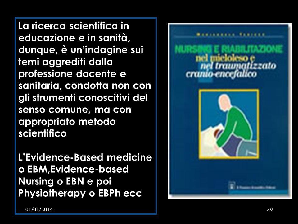 01/01/201429 La ricerca scientifica in educazione e in sanità, dunque, è unindagine sui temi aggrediti dalla professione docente e sanitaria, condotta
