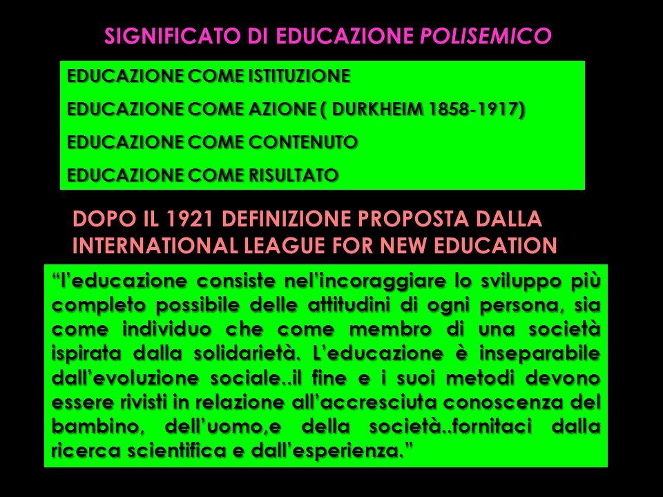 SIGNIFICATO DI EDUCAZIONE POLISEMICO EDUCAZIONE COME ISTITUZIONE EDUCAZIONE COME AZIONE ( DURKHEIM 1858-1917) EDUCAZIONE COME CONTENUTO EDUCAZIONE COM