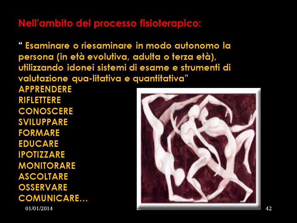 01/01/201442 Nell'ambito del processo fisioterapico: Esaminare o riesaminare in modo autonomo la persona (in età evolutiva, adulta o terza età), utili