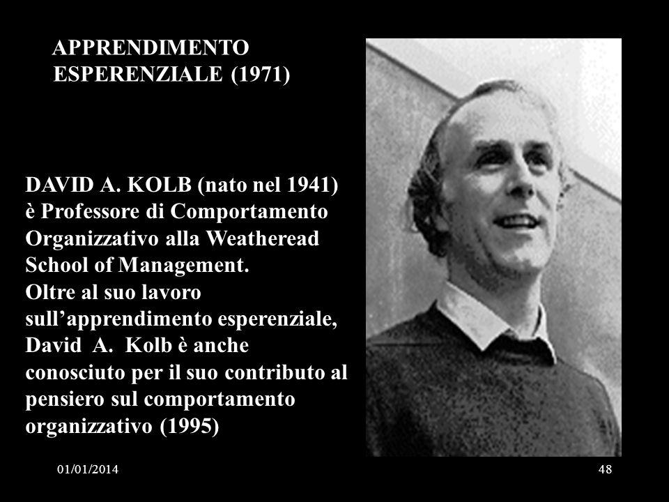 01/01/201448 DAVID A. KOLB (nato nel 1941) è Professore di Comportamento Organizzativo alla Weatheread School of Management. Oltre al suo lavoro sulla