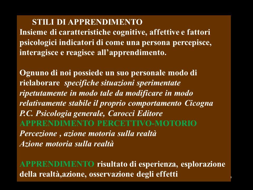 01/01/201449 STILI DI APPRENDIMENTO Insieme di caratteristiche cognitive, affettive e fattori psicologici indicatori di come una persona percepisce, i