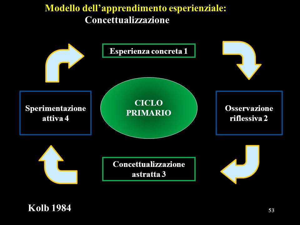 53 Modello dellapprendimento esperienziale: Concettualizzazione CICLO PRIMARIO Concettualizzazione astratta 3 Esperienza concreta 1 Sperimentazione at