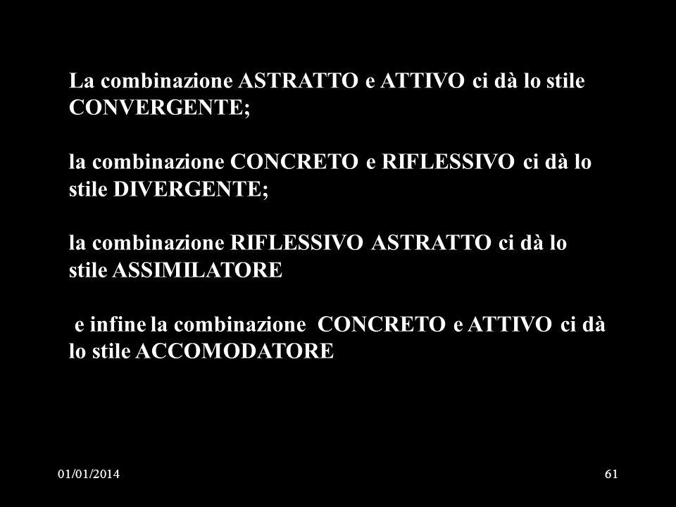 01/01/201461 La combinazione ASTRATTO e ATTIVO ci dà lo stile CONVERGENTE; la combinazione CONCRETO e RIFLESSIVO ci dà lo stile DIVERGENTE; la combina