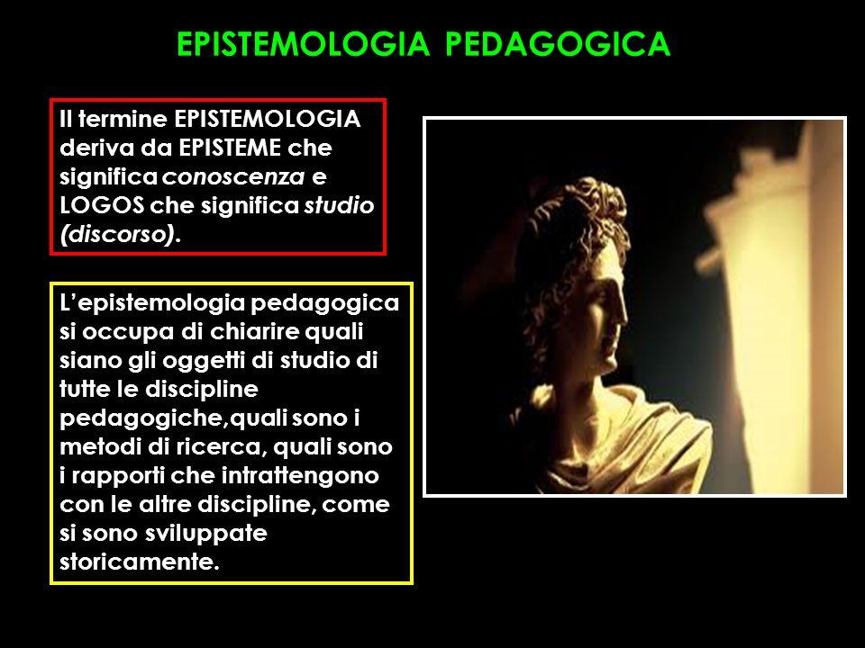 EPISTEMOLOGIA PEDAGOGICA Il termine EPISTEMOLOGIA deriva da EPISTEME che significa conoscenza e LOGOS che significa studio (discorso). Lepistemologia