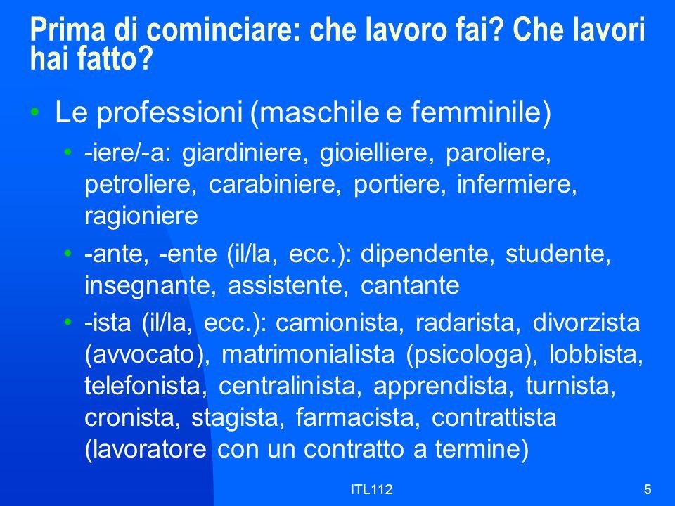ITL1125 Prima di cominciare: che lavoro fai? Che lavori hai fatto? Le professioni (maschile e femminile) -iere/-a: giardiniere, gioielliere, paroliere