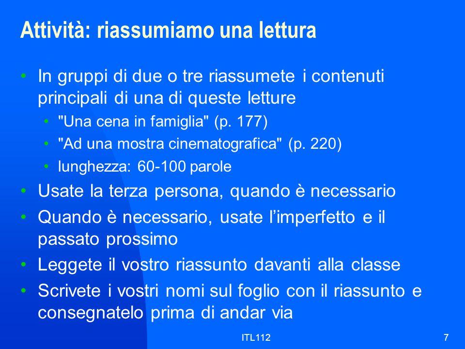 ITL1128 Grammatica: i pronomi diretti ed i pronomi indiretti Pronomi direttiPronomi indiretti mi (me)mi (to me) ti (you)ti (to you) lo / la (him, her, it)gli / le (to him, to her, to it) ci (us)ci (to us) vi (you, plural)vi (to you, plural) li / le (them)loro, (a) loro, gli (to them)