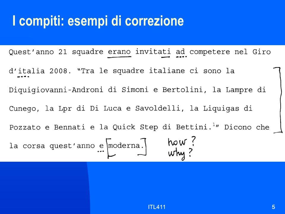 I compiti: esempi di correzione 5ITL411
