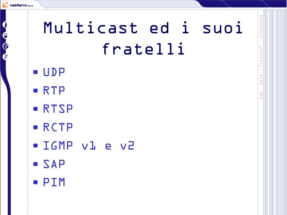 Multicast ed i suoi fratelli UDP RTP RTSP RCTP IGMP v1 e v2 SAP PIM