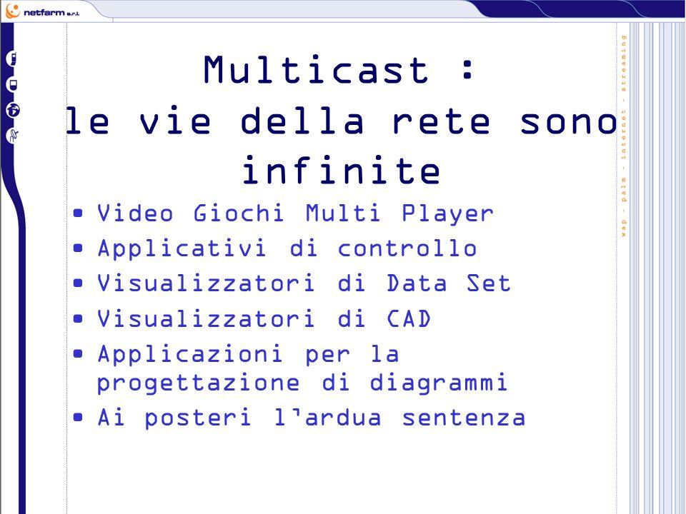 Multicast : le vie della rete sono infinite Video Giochi Multi Player Applicativi di controllo Visualizzatori di Data Set Visualizzatori di CAD Applicazioni per la progettazione di diagrammi Ai posteri lardua sentenza