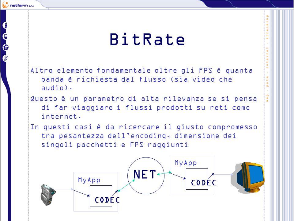 BitRate Altro elemento fondamentale oltre gli FPS è quanta banda è richiesta dal flusso (sia video che audio). Questo è un parametro di alta rilevanza