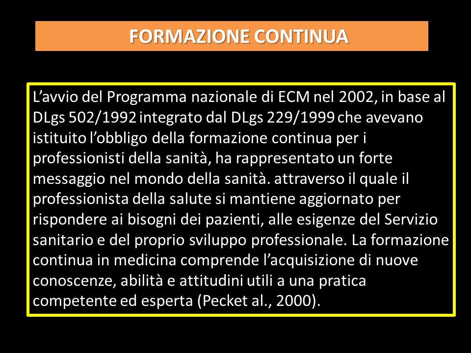 Lavvio del Programma nazionale di ECM nel 2002, in base al DLgs 502/1992 integrato dal DLgs 229/1999 che avevano istituito lobbligo della formazione continua per i professionisti della sanità, ha rappresentato un forte messaggio nel mondo della sanità.
