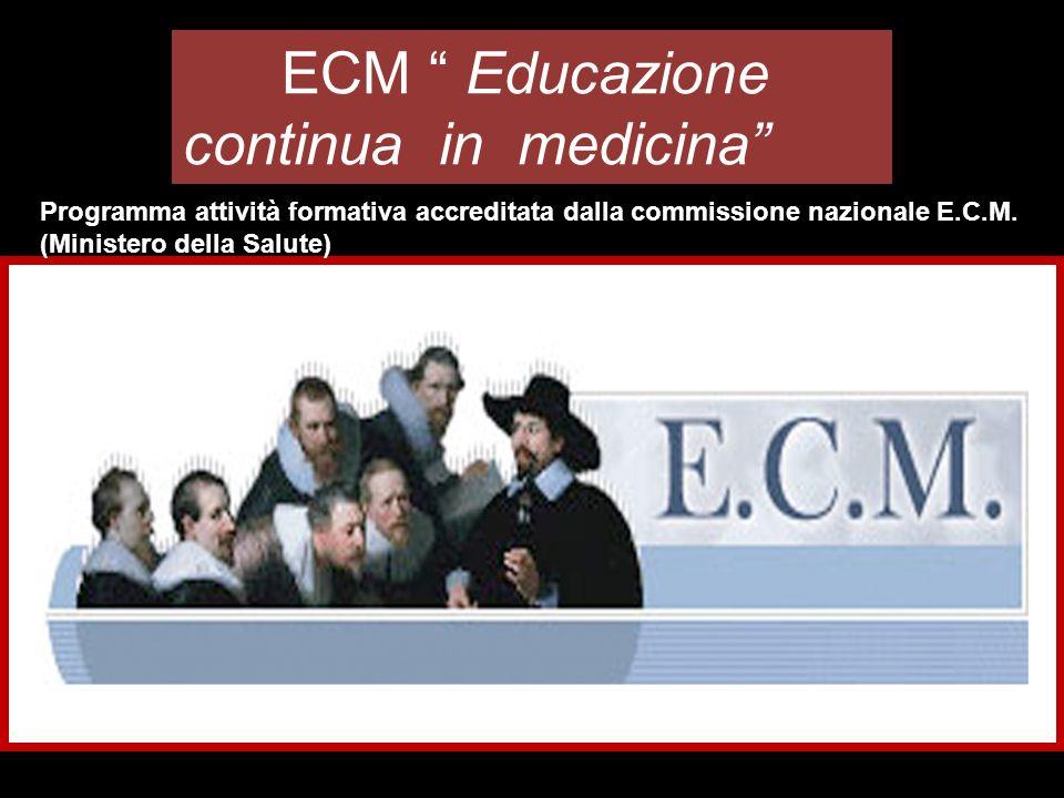 ECM Educazione continua in medicina Programma attività formativa accreditata dalla commissione nazionale E.C.M.
