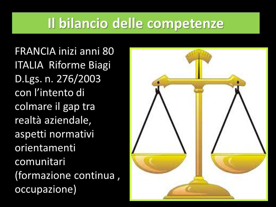 Il bilancio delle competenze FRANCIA inizi anni 80 ITALIA Riforme Biagi D.Lgs.