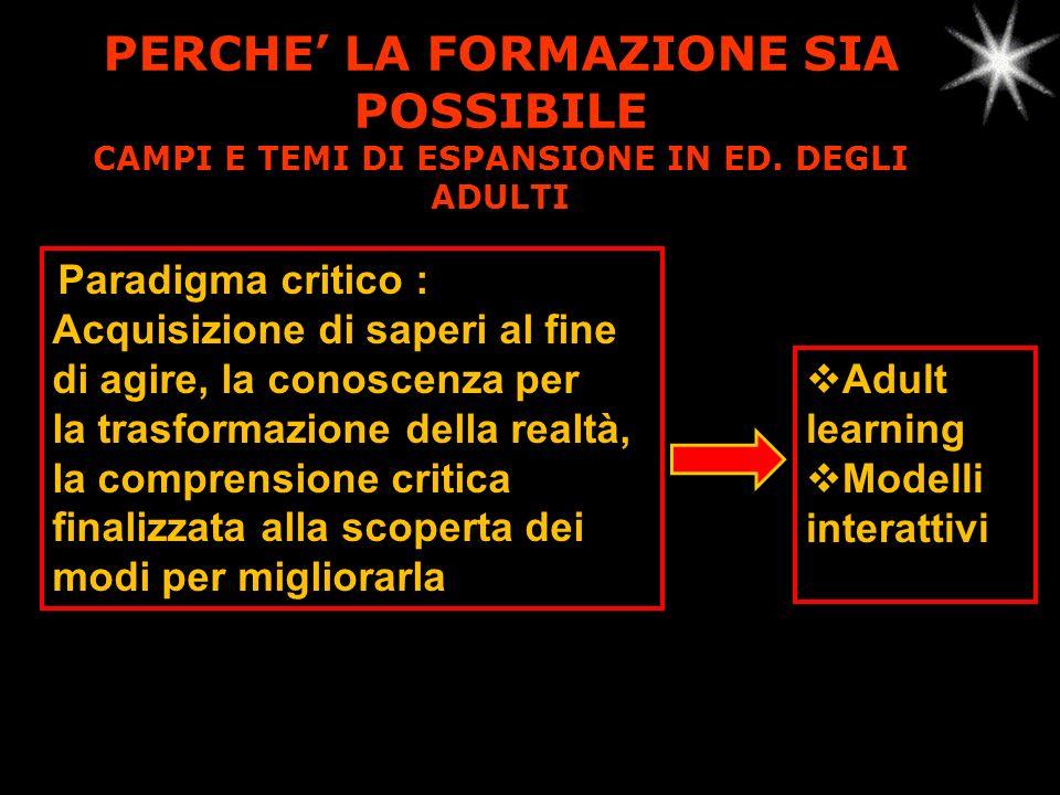 PERCHE LA FORMAZIONE SIA POSSIBILE CAMPI E TEMI DI ESPANSIONE IN ED.
