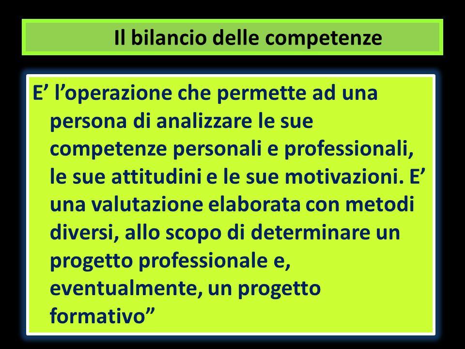 Il bilancio delle competenze E loperazione che permette ad una persona di analizzare le sue competenze personali e professionali, le sue attitudini e le sue motivazioni.