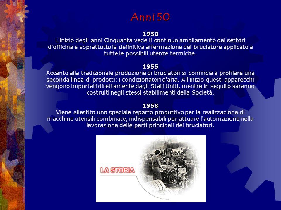 Anni 30-40 1936 1938 1945 Anni 30-40 1936 A causa della drastica riduzione della disponibilità di combustibili liquidi, vengono progettati e realizzati speciali bruciatori automatici per carboni poveri.